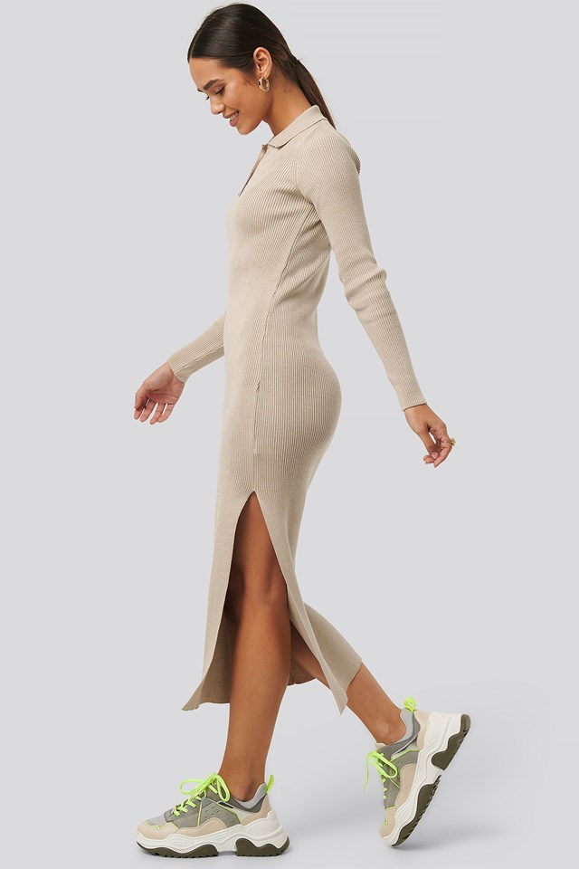 Polo Collar Knit Maxi Dress Beige