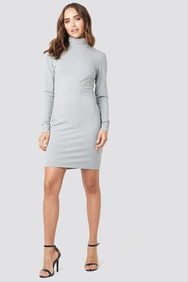Polo Neck Dress Grey Melange