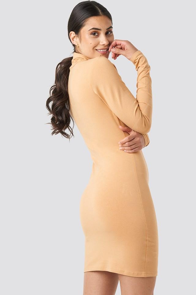 Polo Neck Dress Beige