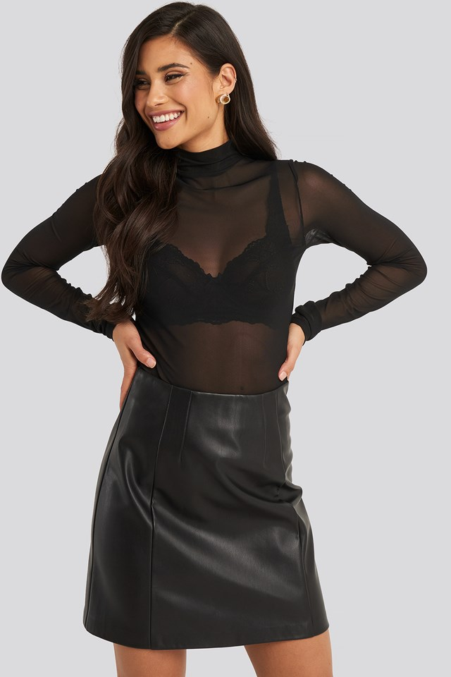 Polo Neck Mesh Top NA-KD Party