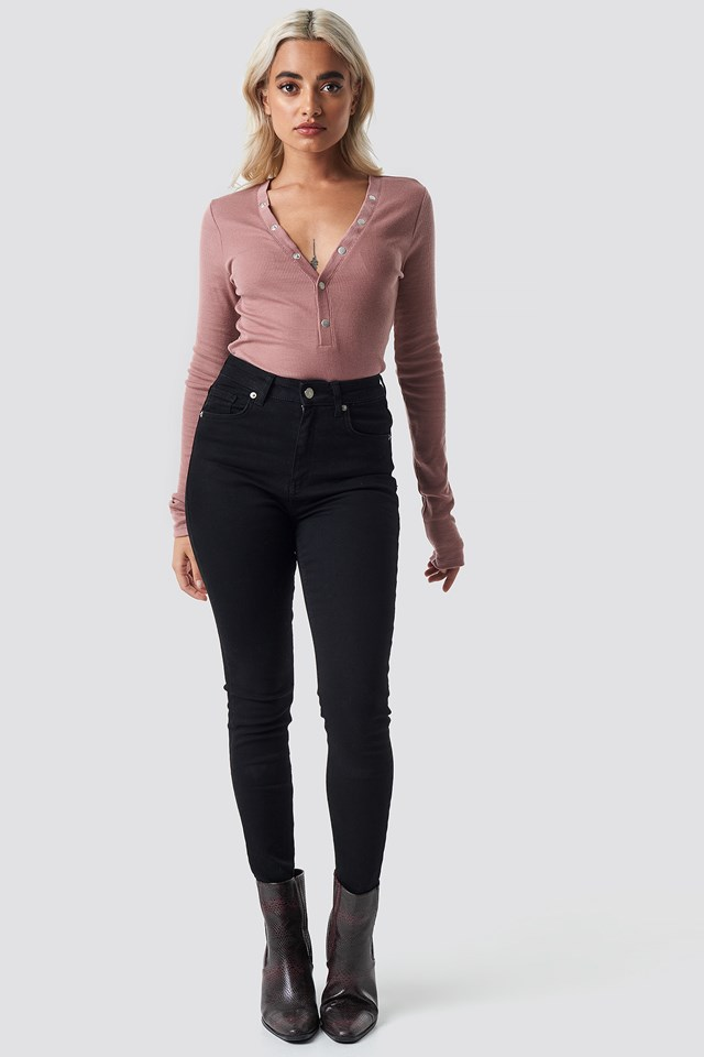 Press Button Rib Top Dusty Dark Pink