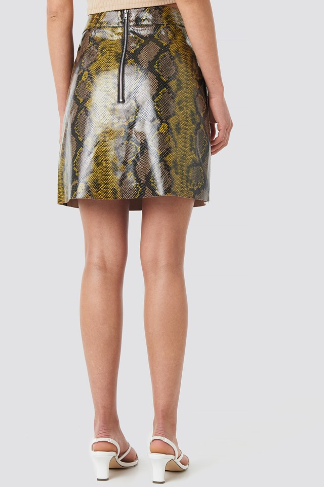 Snake Printed A Line Mini Skirt Snake Print