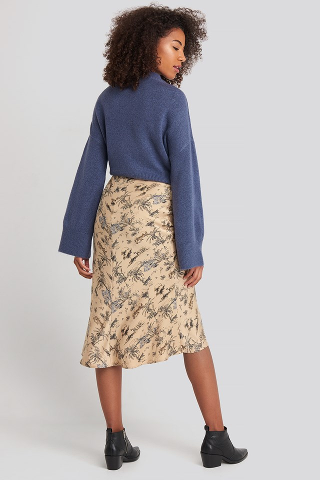 Satin Skirt Safari Print