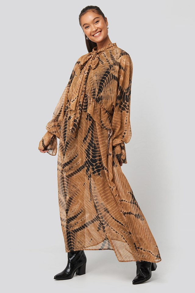 Printed Tie Collar Maxi Dress Ecru/Brown print