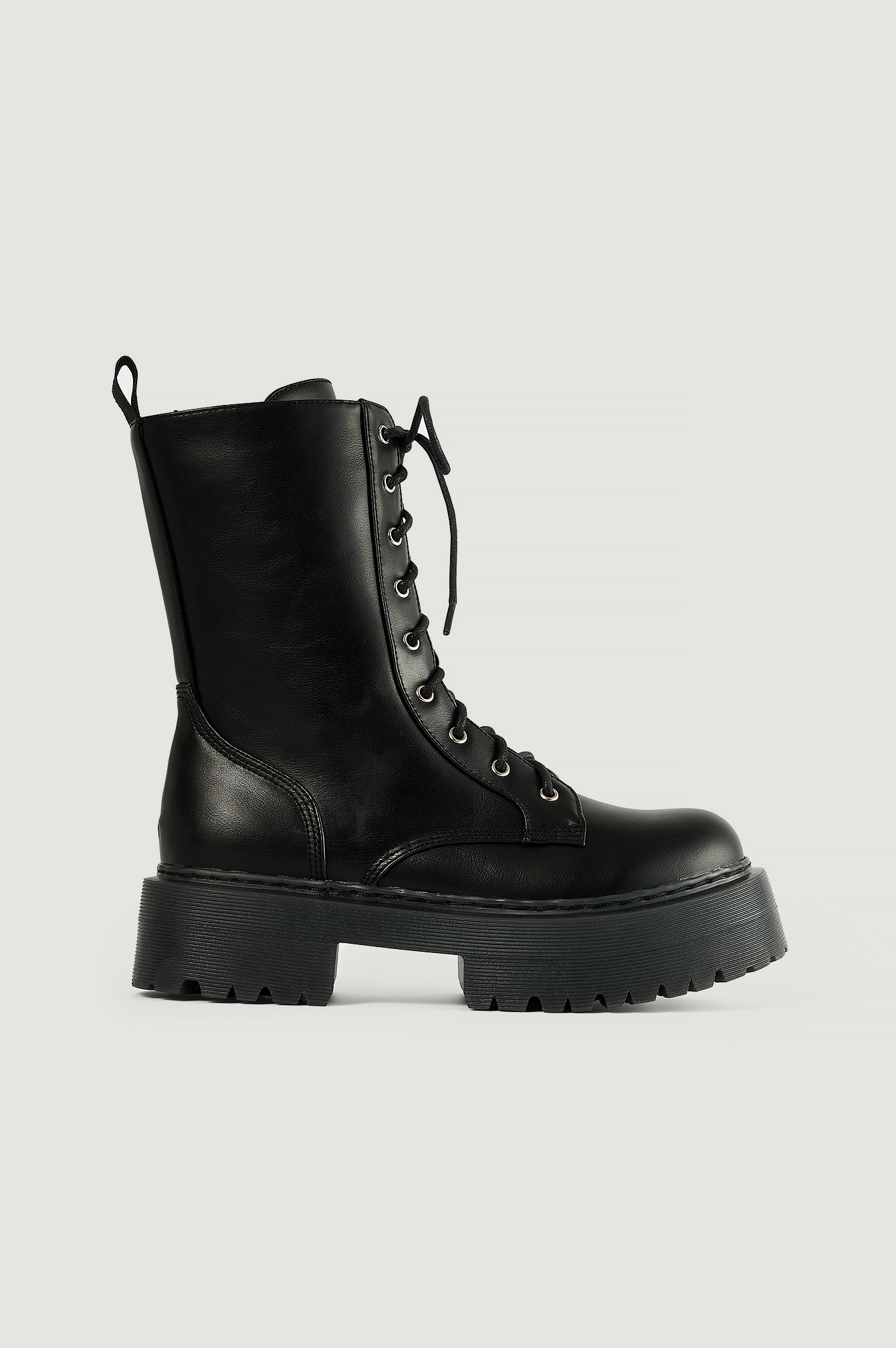 Black Profile Lace Up Boots