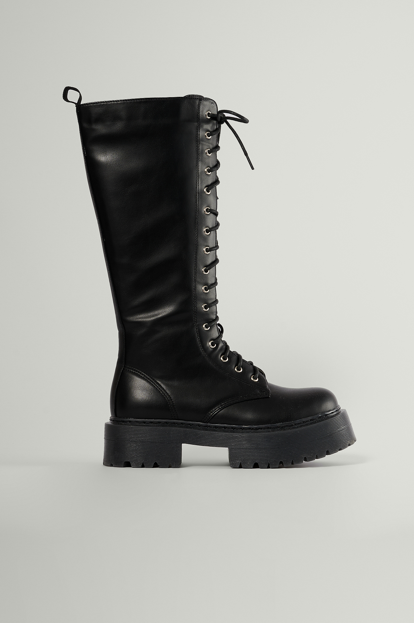 Black Profile Lace Up Shaft Boots