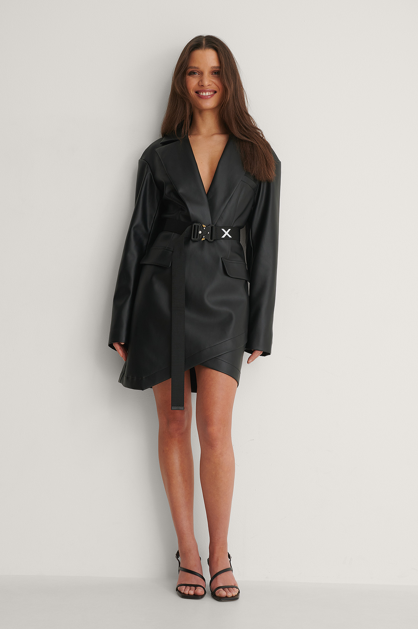 Black PU Blazer Dress