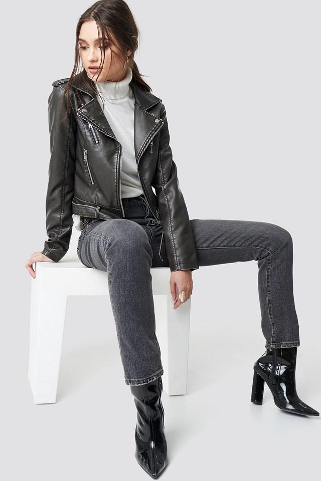 Pu Leather Distressed Biker Jacket Washed Black