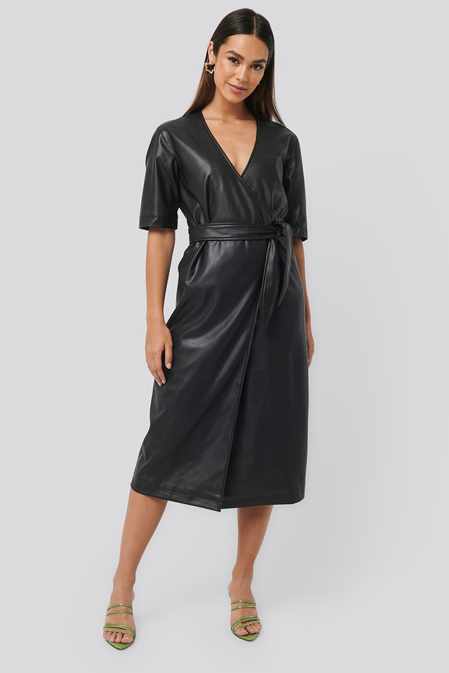 Soft PU Overlap Midi Dress Black