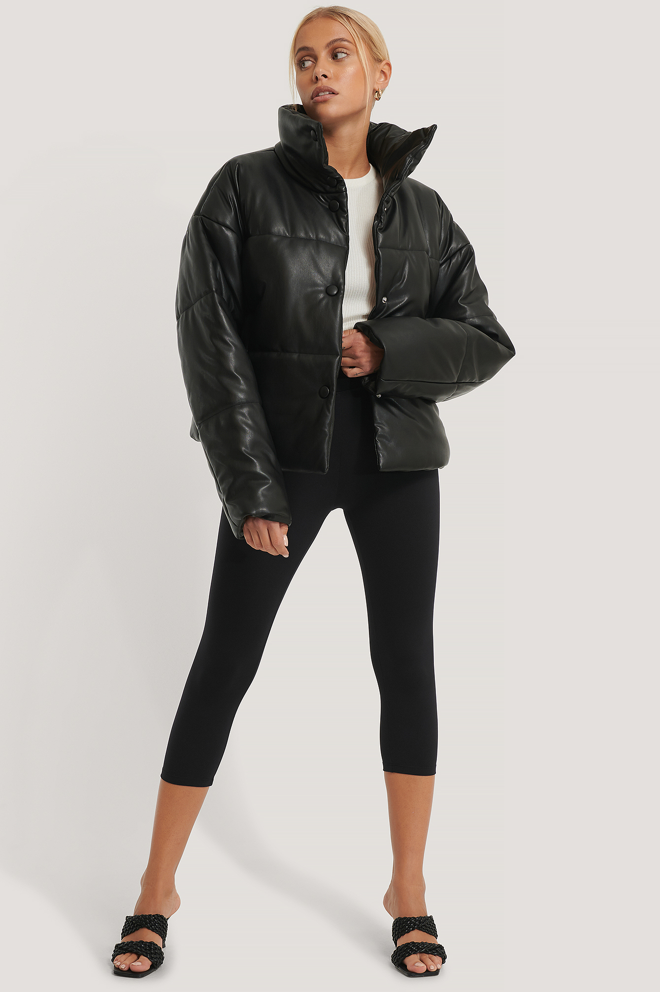 Black PU Padded Jacket