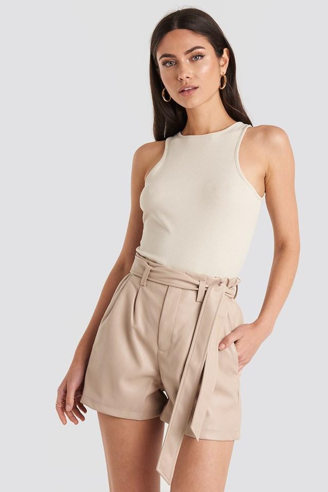 PU Paper Bag Waist Belted Shorts NA-KD