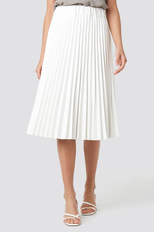 PU Pleated Midi Skirt White