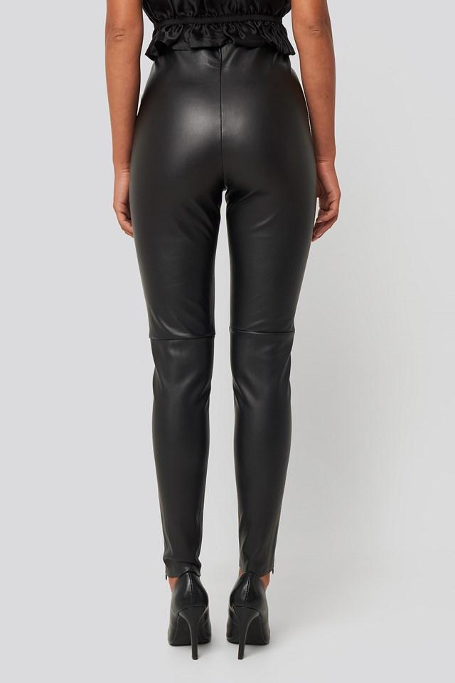 PU Zipper Pants Black