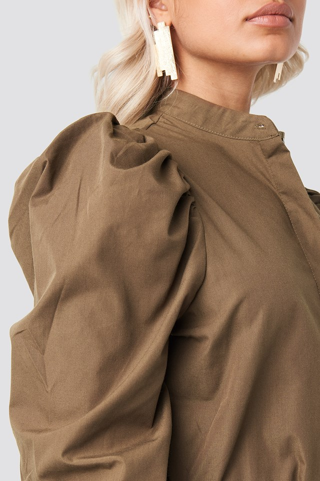 Puff Shoulder Cotton-blend Shirt Dark Brown