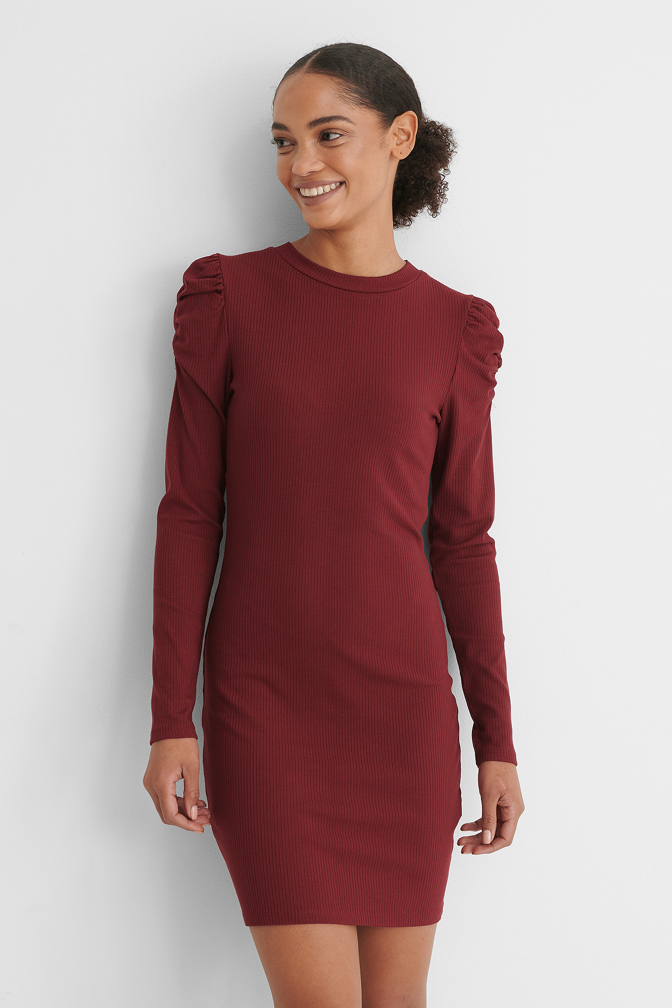 Burgundy Puff Shoulder Long Sleeve Dress