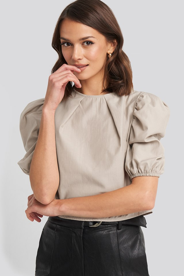 Puff Shoulder Short Sleeve Blouse NA-KD Boho