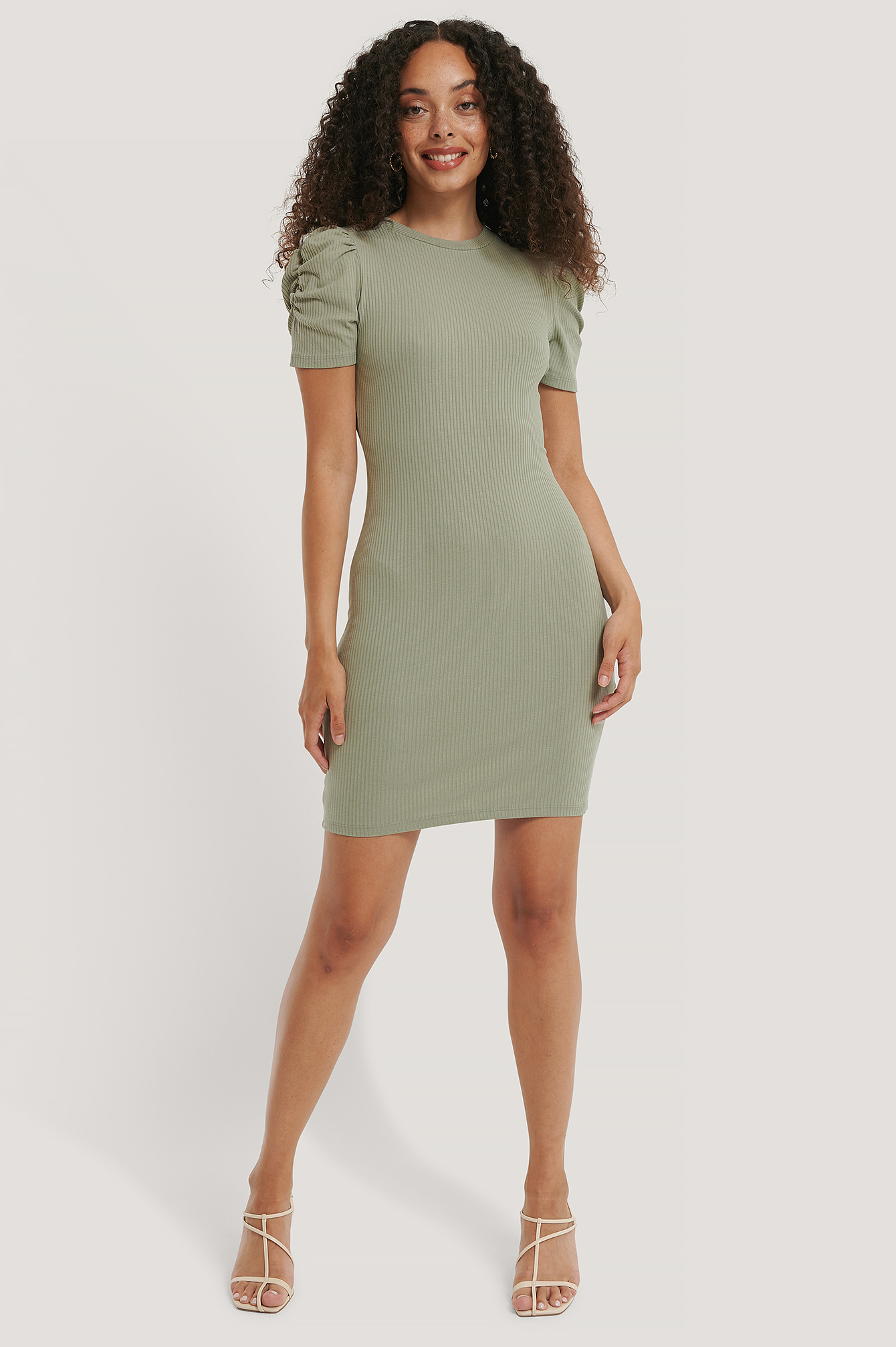 Dusty Green Puff Shoulder Short Sleeve Dress