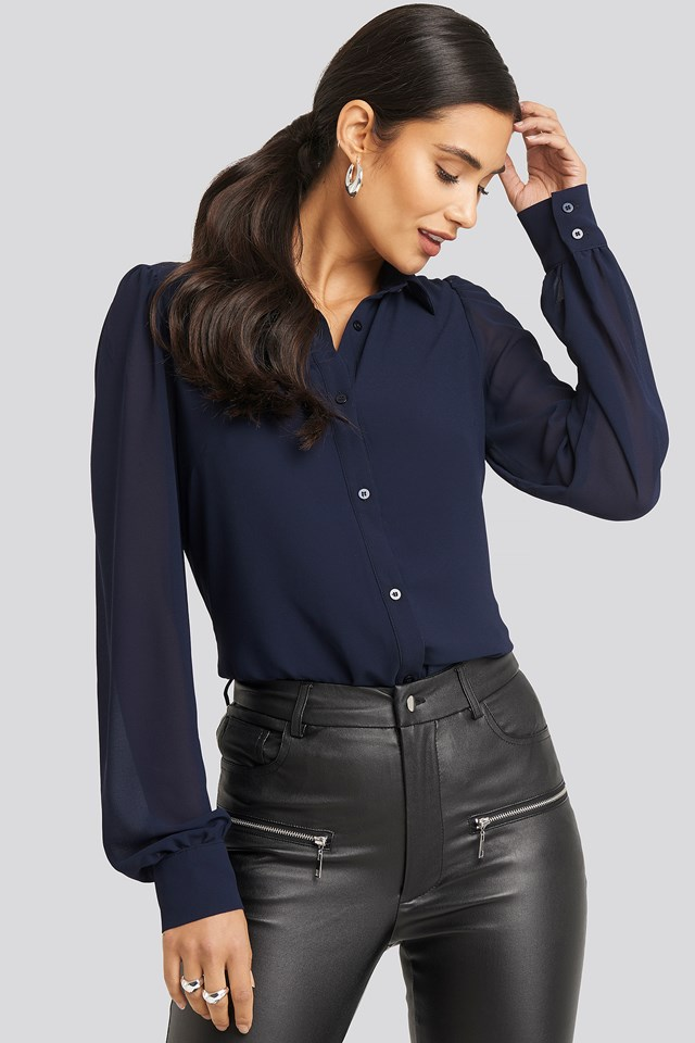 Puff Sleeve Blouse Navy