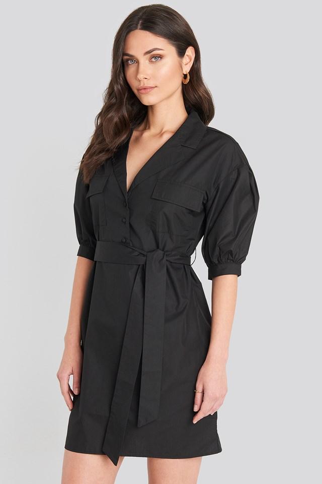 Puff Sleeve Chest Pocket Mini Dress Black