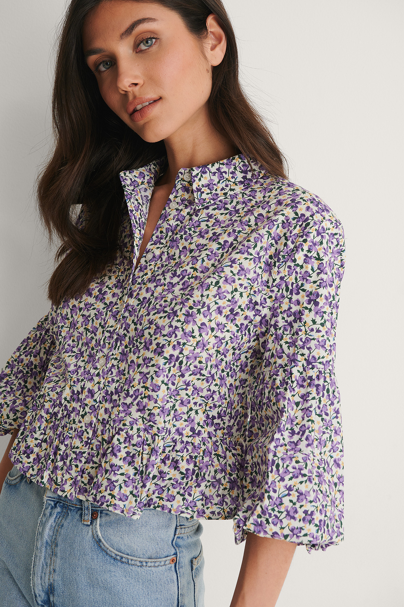 Lilac Flower Puff Sleeve Collar Blouse