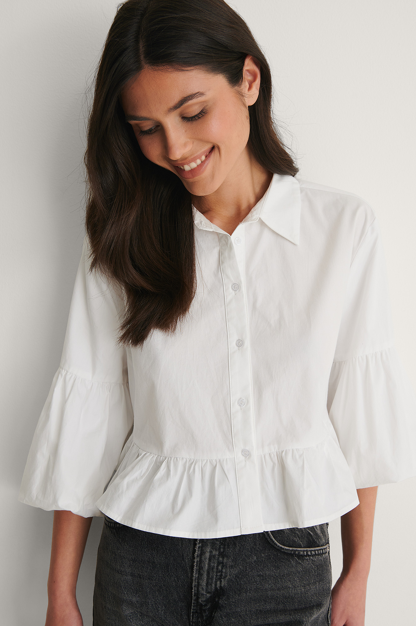 White Puff Sleeve Collar Blouse