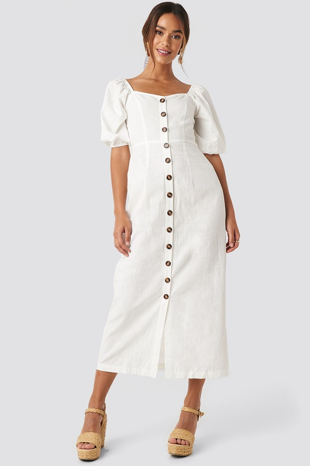 Puff Sleeve Cotton Dress NA-KD Boho