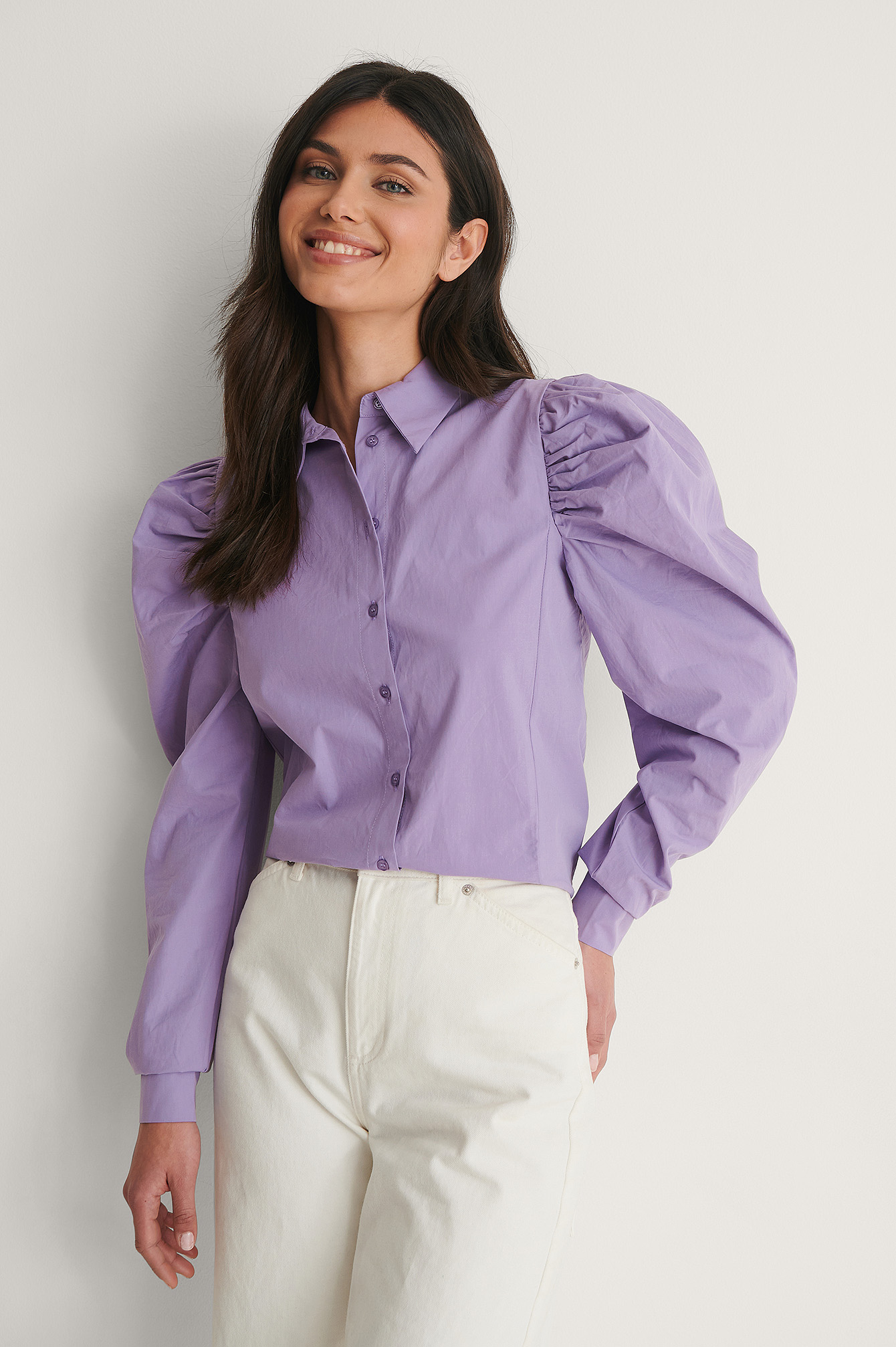 Lilac Puff Sleeve Cotton Shirt