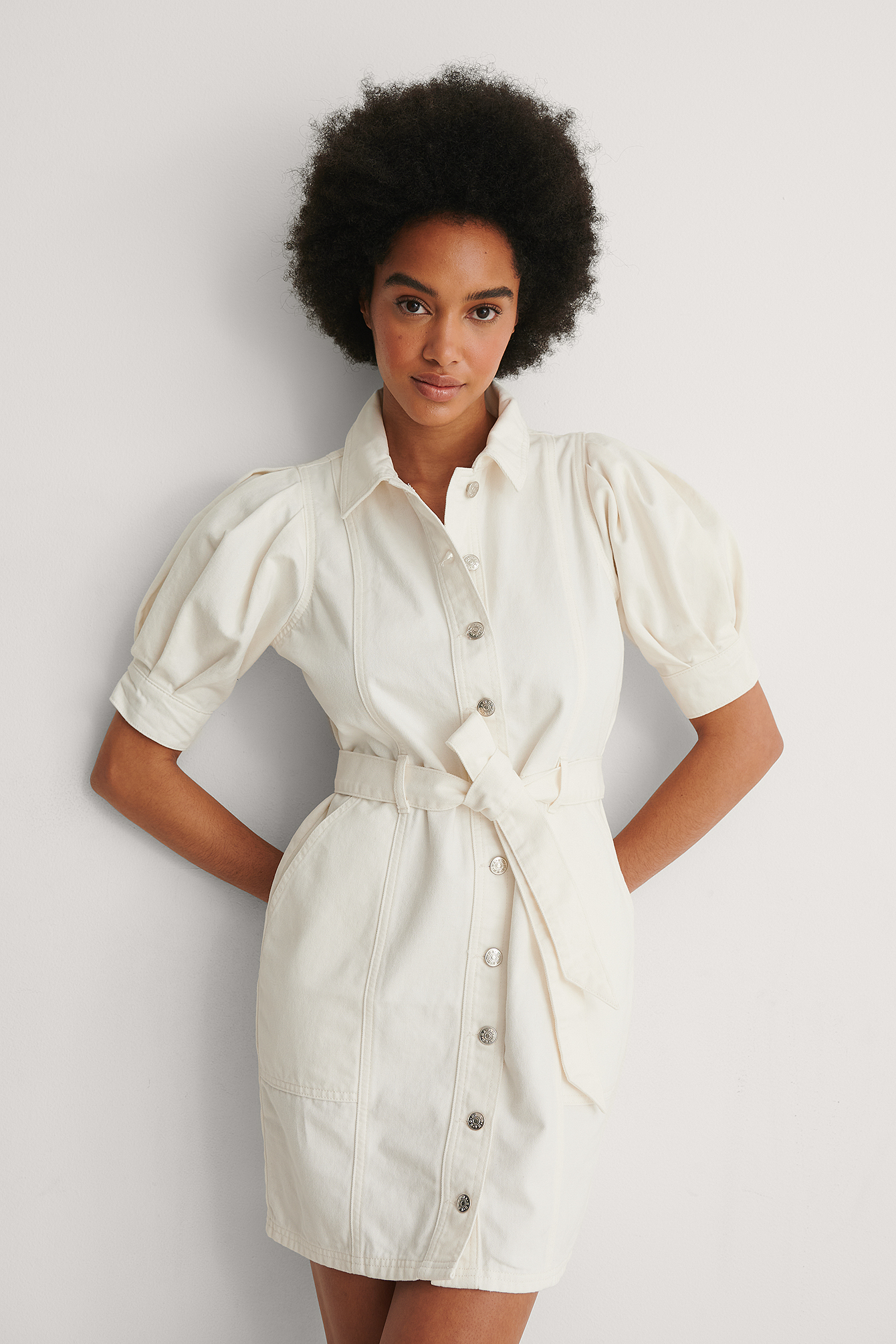 Beige Organic Puff Sleeve Denim Dress