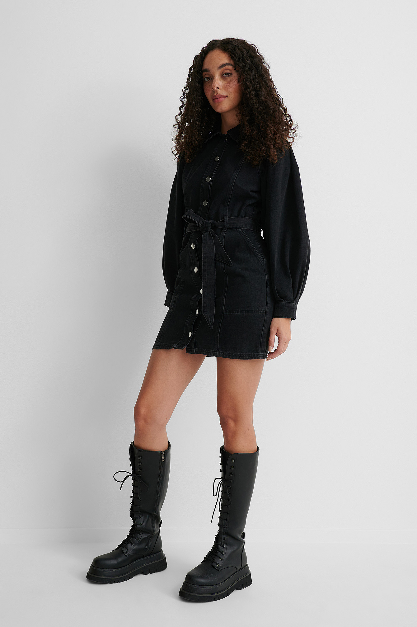 Black Puff Sleeve Denim Long Sleeve Dress