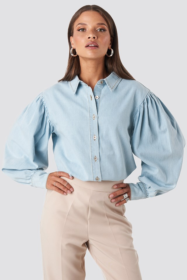 Puff Sleeve Denim Shirt Light Blue