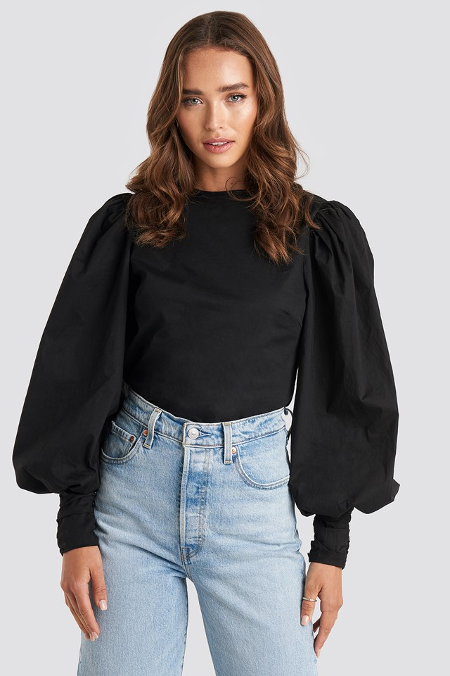 Puff Sleeve Fitted Top Black