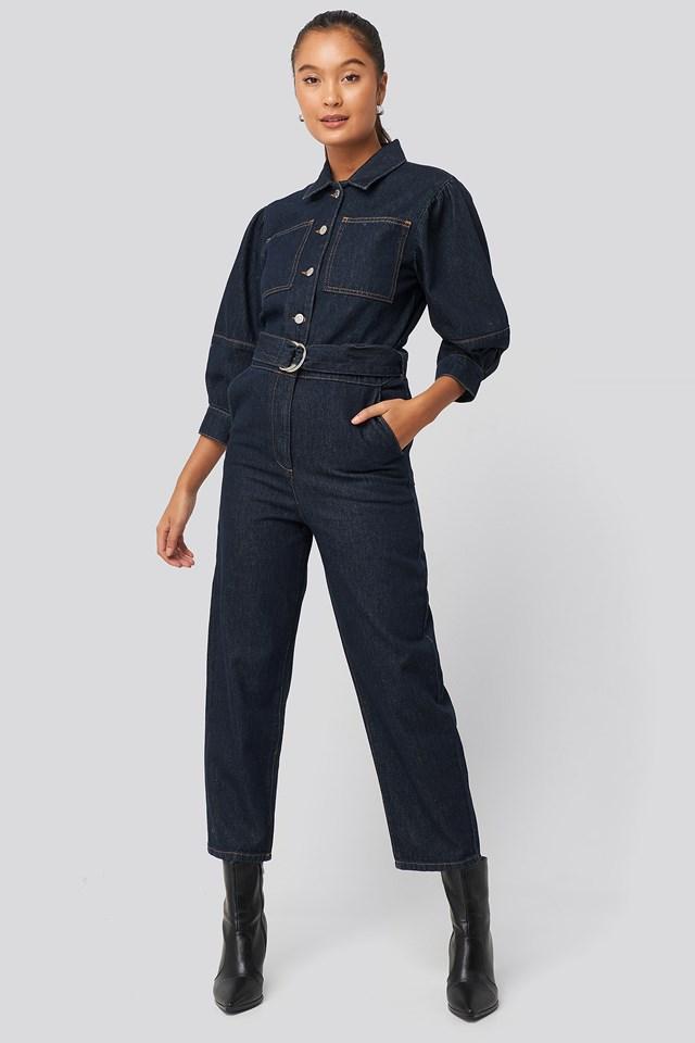 Puff Sleeve Jumpsuit Dark Blue