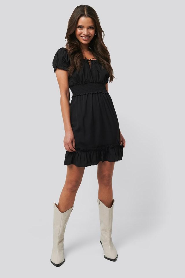 Puff Sleeve Mini Flounce Dress Black