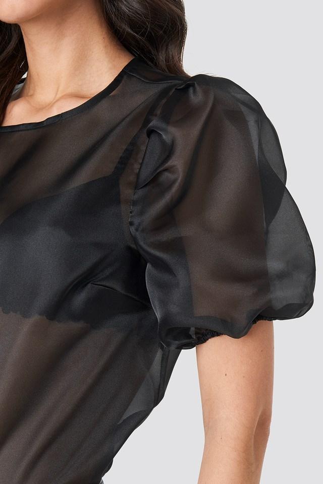 Puff Sleeve Organza Blouse Black