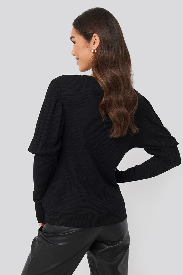 Puff Sleeve Ribbed Top Black
