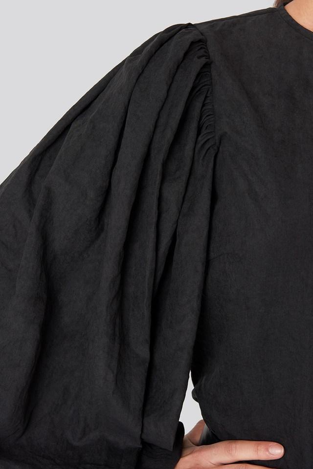 Puff Sleeve Round Neck Top Black