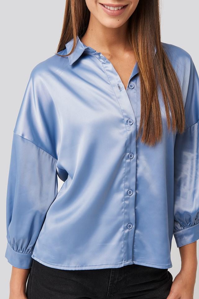Puff Sleeve Satin Blouse Blue