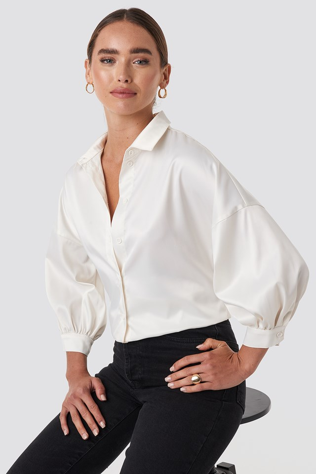 Puff Sleeve Satin Blouse Beige