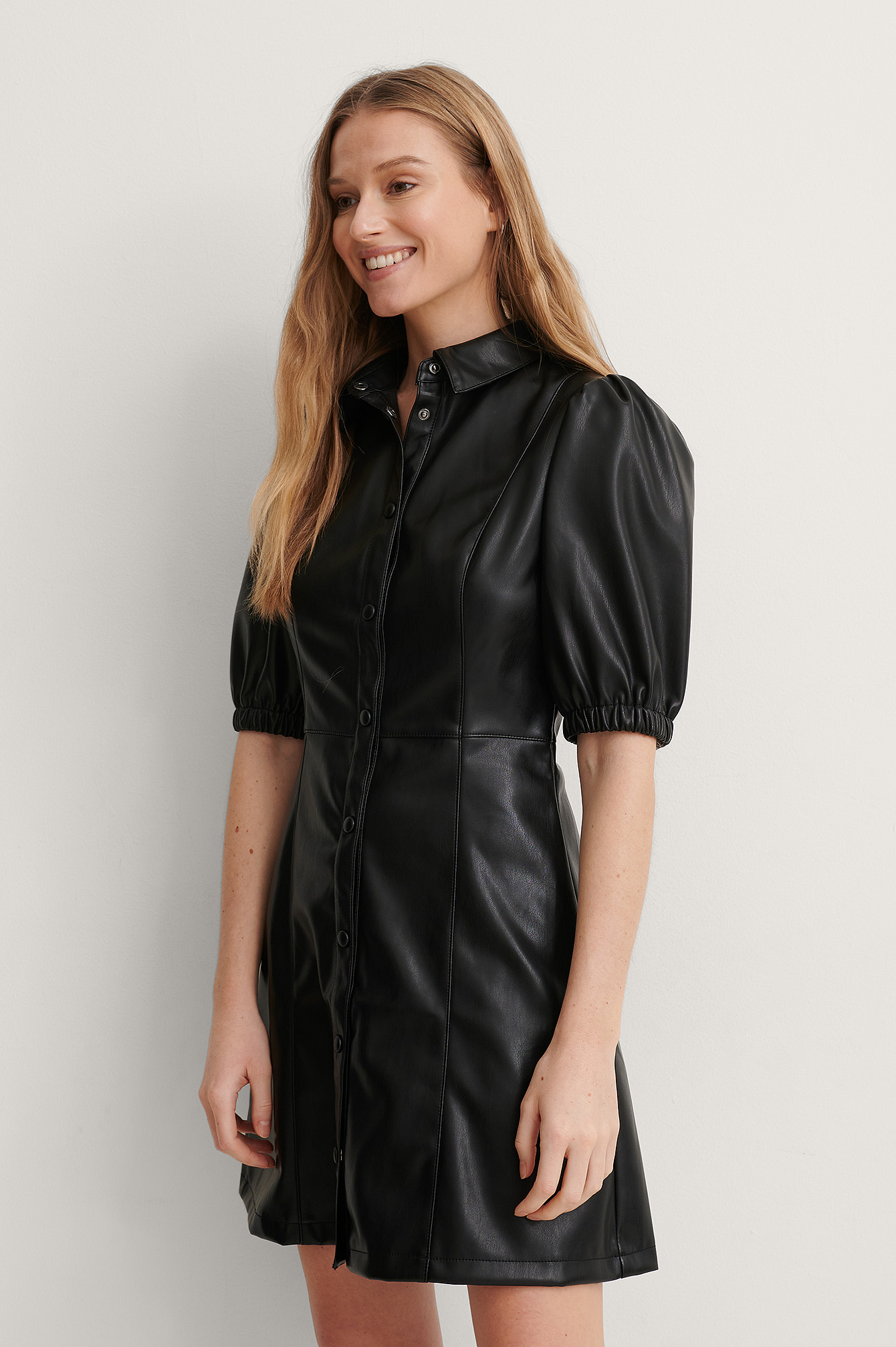 Black Puff Sleeve Shirt PU Dress