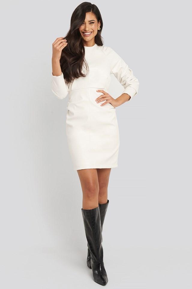 Puff Sleeve Soft Pu Dress Offwhite