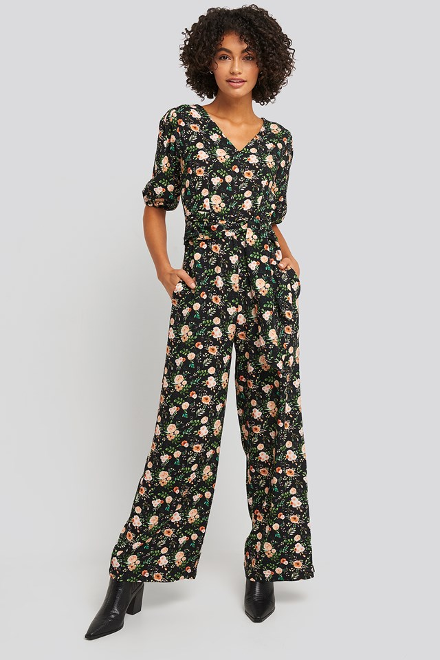 Puff Sleeve Wide Leg Jumpsuit Floral Print