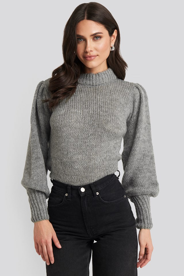 Puff Sleeve Wide Neck Knitted Sweater NA-KD