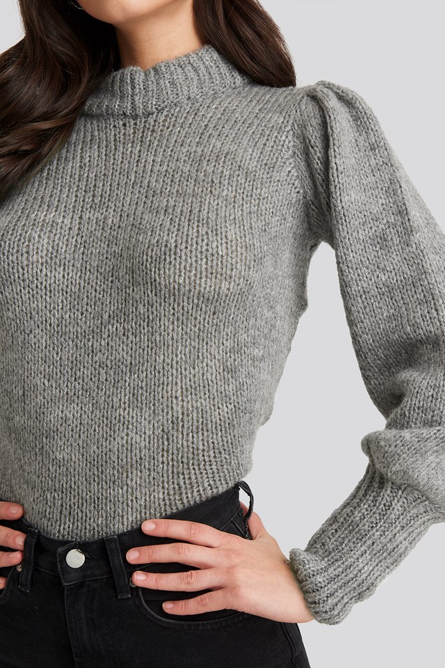 Puff Sleeve Wide Neck Knitted Sweater Grey