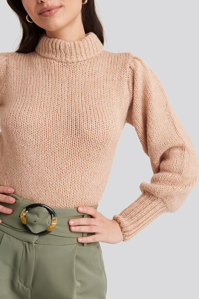 Puff Sleeve Wide Neck Knitted Sweater Dusty Light Pink