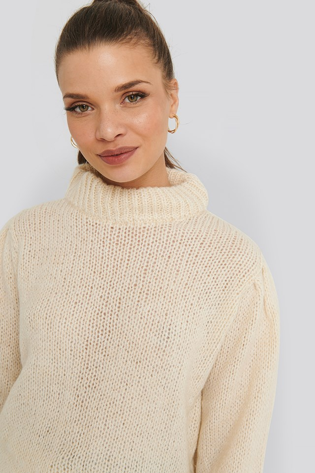 Puff Sleeve Wide Neck Knitted Sweater Off White