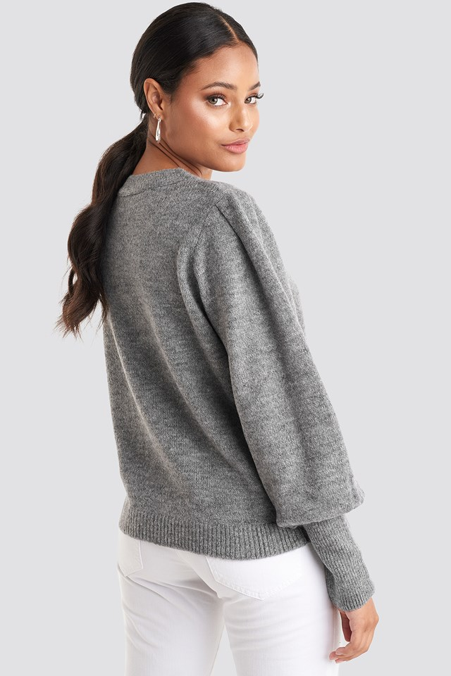 Puff Sleeve Wide Rib Knitted Sweater Grey