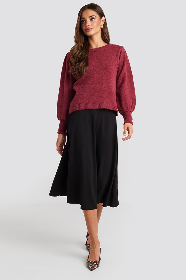 Puff Sleeve Wide Rib Knitted Sweater Bordeaux