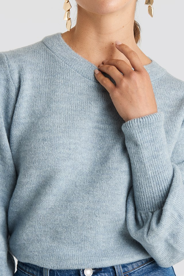 Puff Sleeve Wide Rib Knitted Sweater Dusty Blue