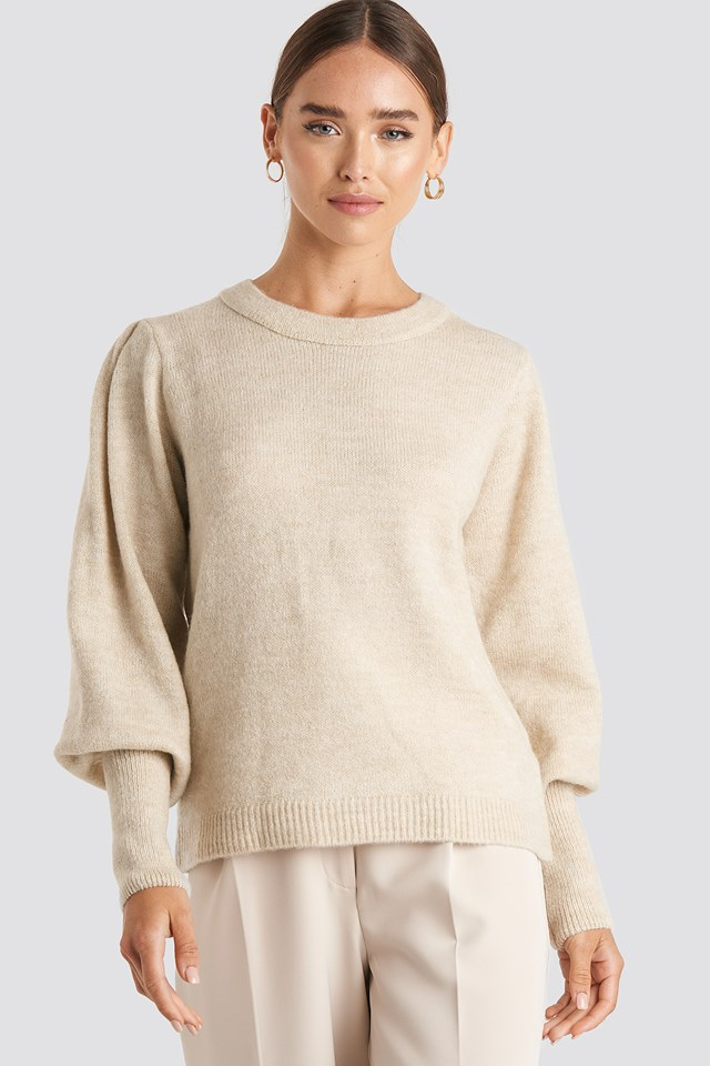 Puff Sleeve Wide Rib Knitted Sweater Off White