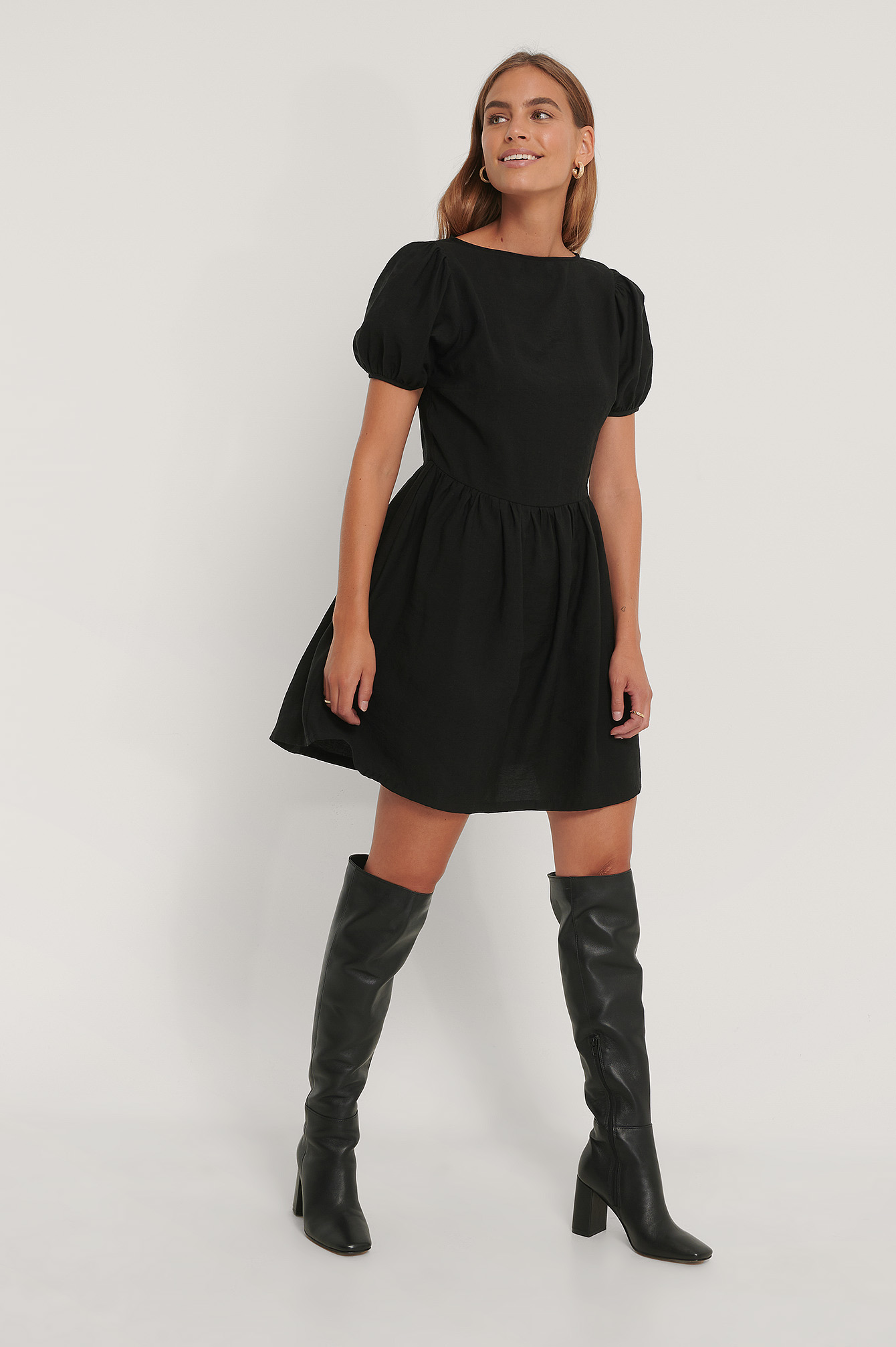 Black Puff Sleeves Gathered Skirt Dress